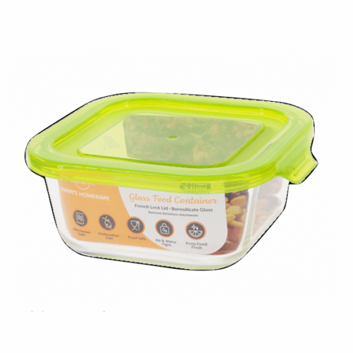 Glass Square Container French Lock 800ML